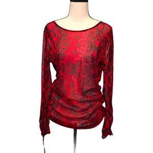 3/$25 I.N.C | sheer red animal print top